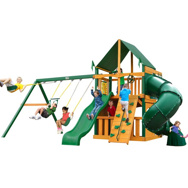 Gorilla Playsets Mountaineer Clubhouse w/ Timber Shield and Sunbrella Canvas Forest Green Canopy