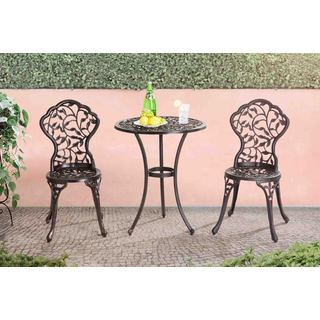 "Sunjoy Vinely 24 x 24"" x 28.3 Black Cast Iron and Cast Aluminum Bistro Set"