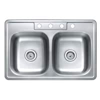 Winpro Top Mount Double Bowl Stainless Steel Kitchen Sink