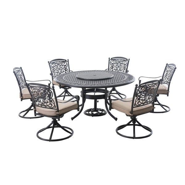 Sunjoy New Renaissance Aluminum And Steel 9 Piece Dining Set With Beige  Cushions, ...