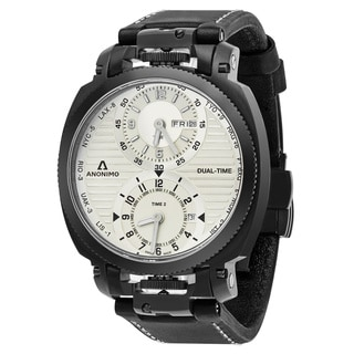 Anonimo Men's AM-1200.02.004.A01 'Militare' Silver Dial Black Leather Strap Dual Time Swiss Mechanical Watch