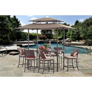 Sunjoy Brandy High Steel and Woven Resin Dining Set with Canopy