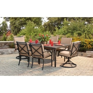Sunjoy Sumpter Dining Set Made of Aluminum and Steel With Taupe Cushions