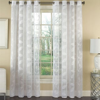 Avery Semi-Sheer Embroidered Leaf Faux Linen Grommet Window Curtain Panel