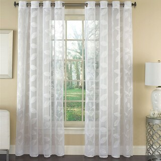 Avery Semi-Sheer Embroidered Leaf Faux Linen Grommet Window Curtain Panel - 84x53