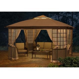 Sunjoy 12' x 12' Bay Window Soft-Top Woven Gazebo Extends Your Living Area Outdoors
