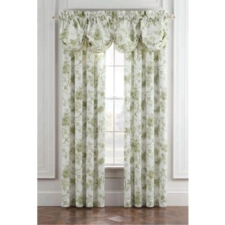 Royal Heritage Williamsburg Burwell Green and White Cotton Window Valance