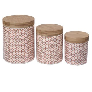 Certified International Honeycomb White/Red Ceramic 3-piece Canister Set