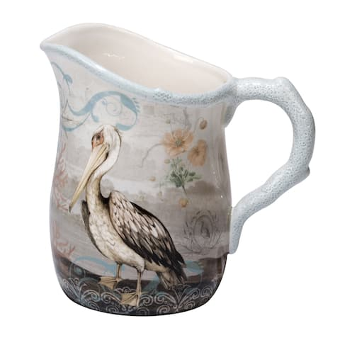 Certified International Coastal View Blue, Pink, and White Ceramic 88-ounce Hand-painted Pitcher