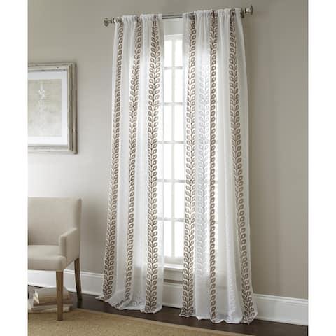 Sherry Kline Claremont Luxury Embroidered Sheer Curtain Panel Pair - 52 X 96