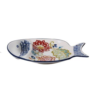 Certified International San Marino 3-D 15.75-inch x 10.5-inch Fish Chip and Dip Platter