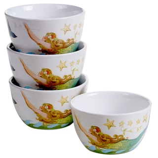 Certified International Sea Beauty Ice Cream Bowls, 5.25' x 3' (Pack of 4 Assorted Designs)