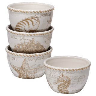 Certified International Coastal Discoveries Ceramic 5.75-inch x 3.25-inch Assorted Designs Ice Cream Bowls (Pack of 4)