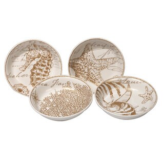 Certified International Coastal Discoveries Ceramic 8.75-inch x 2-inch Assorted Designs Soup/Pasta Bowls (Pack of 4)