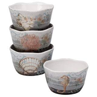 Certified International Coastal View Ceramic Assorted Designs Ice Cream Bowls (Pack of 4)