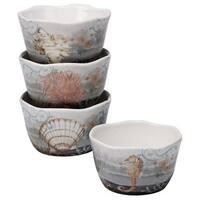 Certified International Coastal View Ceramic Assorted Designs Ice Cream Bowls (Pack of 4)