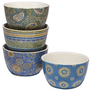 Certified International Exotic Garden Blue Ceramic Assorted Designs Ice Cream Bowls (Pack of 4)