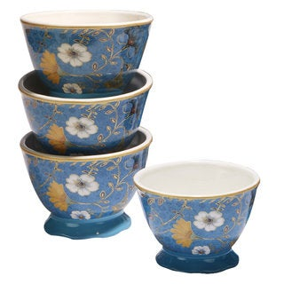 Certified International Exotic Garden Ceramic 5.5-inch x 3.75-inch Ice Cream Bowls (Pack of 4)