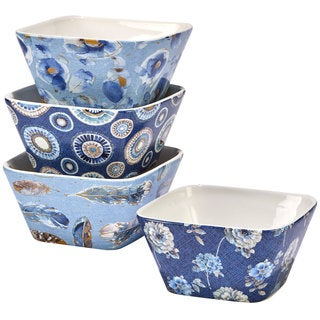 Certified International Indigold Ceramic 5.25-inch x 2.5-inch Assorted Designs Ice Cream Bowls (Pack of 4)