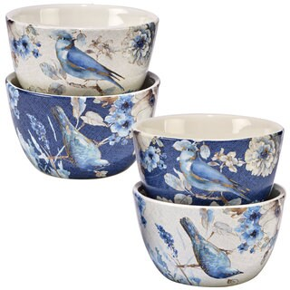 Certified International Indigold Bird Ceramic 5.5-inch x 3-inch Assorted Designs Ice Cream Bowls (Pack of 4)