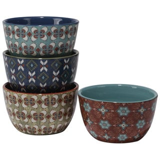 Certified International Monterrey Ceramic Assorted Designs Ice Cream Bowls (Pack of 4)