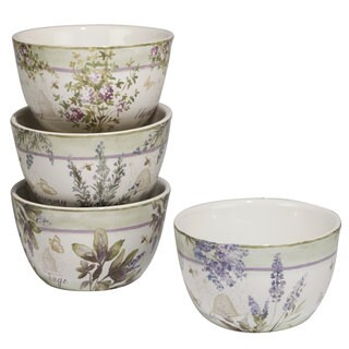 Certified International Herbes de Provence Ceramic 5.5-inch x 3-inch Assorted Designs Ice Cream Bowls (Pack of 4)