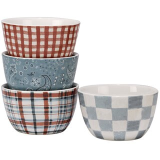 Certified International Farm House Ice Cream Bowls 5.25-inch x 3-inch, Set of 4 Assorted Designs