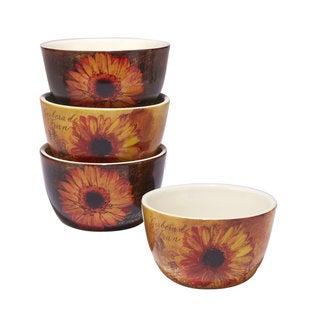 Certified International Gerber Daisy 5.25-inch x 3-inch Ice Cream Bowls (Set of 4)