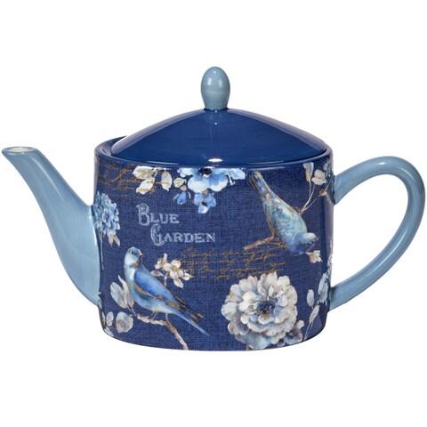 Certified International Indigold White/Blue Ceramic 36 oz. Teapot