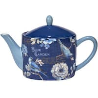 Certified International Indigold White/Blue Ceramic 36 oz. Teapot