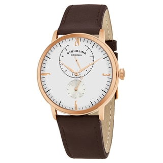 Stuhrling Original Men's Quartz Brown Leather Strap Watch