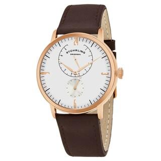 Stuhrling Original Men's Quartz Brown Leather Strap Watch