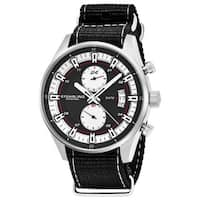 Stuhrling Original Men's Quartz Dual Time Black Canvas Strap Watch
