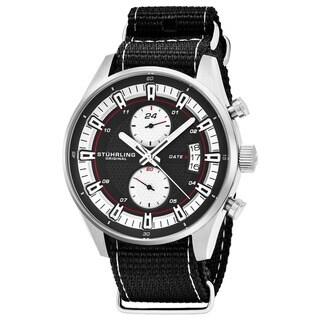 Stuhrling Original Men's Quartz Dual Time Black Canvas Strap Watch