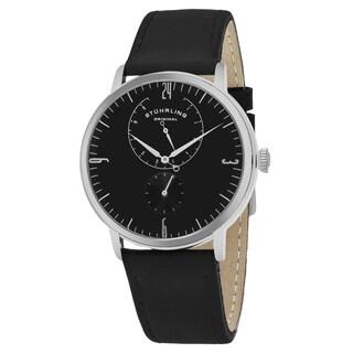 Stuhrling Original Men's Quartz Black Leather Strap Watch