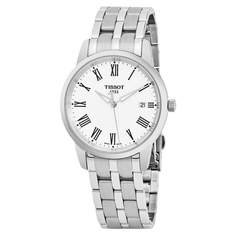 Tissot Men's 'T-Classic' White Dial Stainless Steel Swiss Quartz Watch - silver