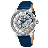 Stuhrling Original Women's Automatic Skeleton Crystal Royal Blue Leather Strap Watch