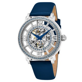 Stuhrling Original Women's Automatic Skeleton Crystal Royal Blue Leather Strap Watch