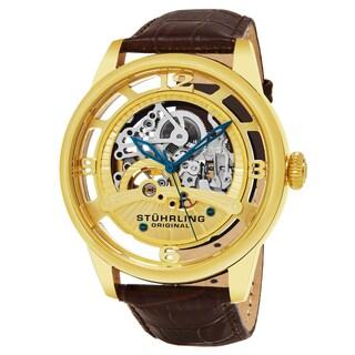 Stuhrling Original Men's Automatic Skeleton Legacy Brown Leather Strap Watch