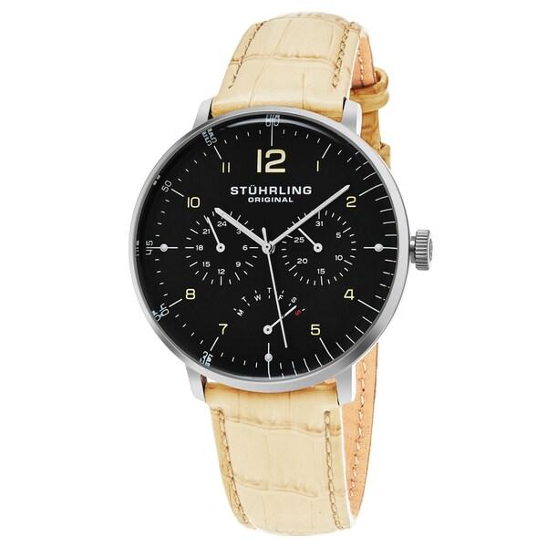 Stuhrling Original Men's Quartz Multifunctinal Vitesse Larvotto Beige Leather Strap Watch - black