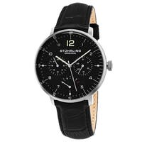 Stuhrling Original Men's Quartz Vitesse Larvotto Multifunctinal Black Leather Strap Watch