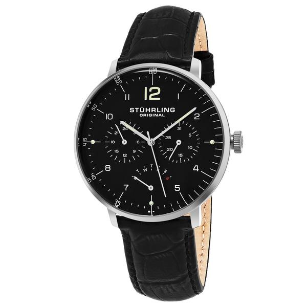 Stuhrling Original Men's Quartz Vitesse Larvotto Multifunctinal Black Leather Strap Watch