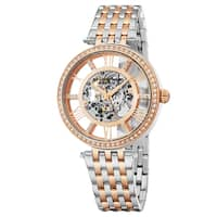 Stuhrling Original Women's Automatic Skeleton Delphi Swarovski Element Crystal Two-Tone Link Bracelet Watch
