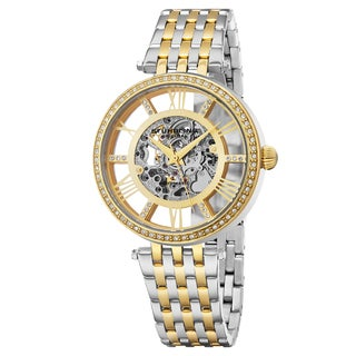 Stuhrling Original Automatic Skeleton Delphi Swarovski Crystal Two-Tone Link Braclet Watch