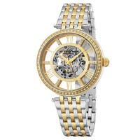 Stuhrling Original Women's Automatic Skeleton Delphi Swarovski Element Crystal Two-Tone Link Braclet Watch - Gold