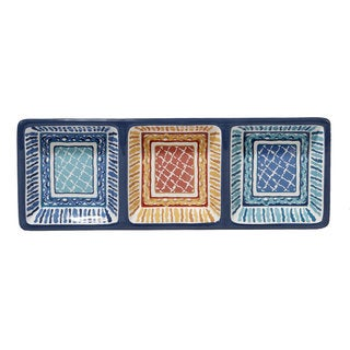 Certified International San Marino Ceramic 13.75-inch x 5-inch 3-section Relish Tray