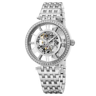 Stuhrling Original Women's Auotmatic Skeleton Delphi Swarovski Crystal Stainless Steel Link Bracelet Watch
