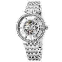 Stuhrling Original Women's Auotmatic Skeleton Delphi Swarovski Crystal Elements Stainless Steel Link Bracelet