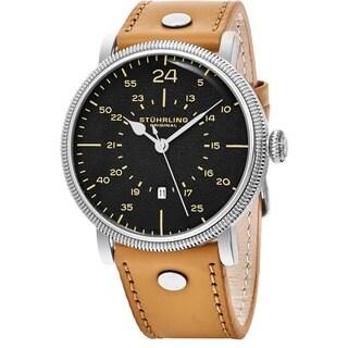 Stuhrling Original Men's Quartz Zeppelin Beige Leather Strap Watch
