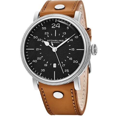 Stuhrling Original Men's Quartz Aviator Tan Leather Strap Watch - brown